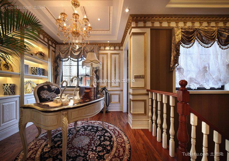 欧式古典风格书房空间设计效果图片