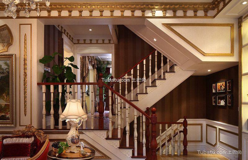 欧式古典风格室内木楼梯设计图片