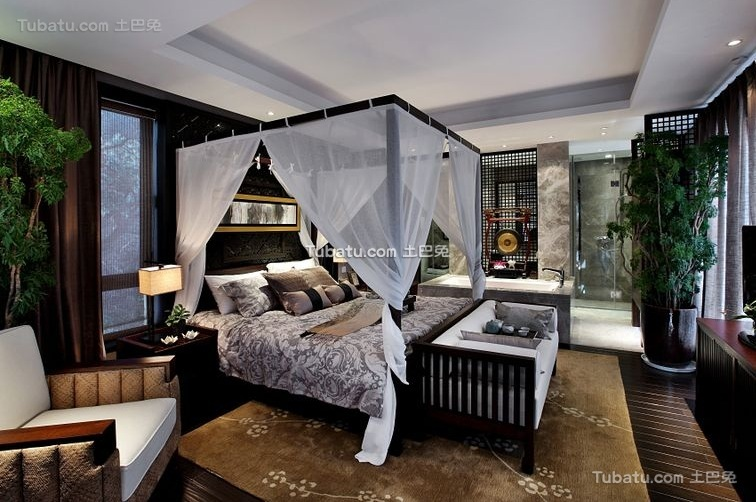 时尚中式风格卧室室内设计图片