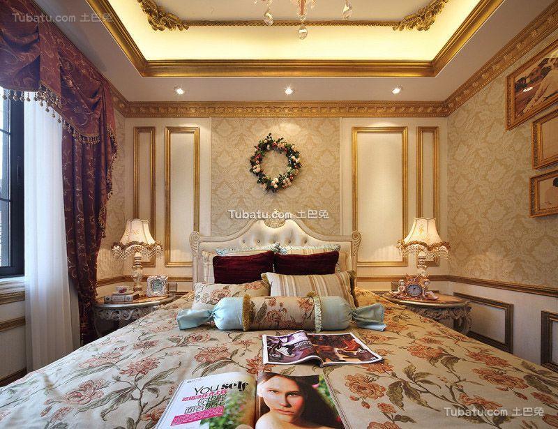 欧式古典风格别墅卧室设计效果图片