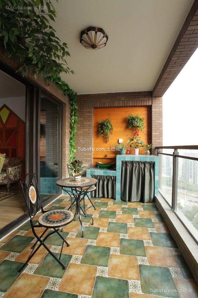 田园风格设计家居阳台装饰效果图片
