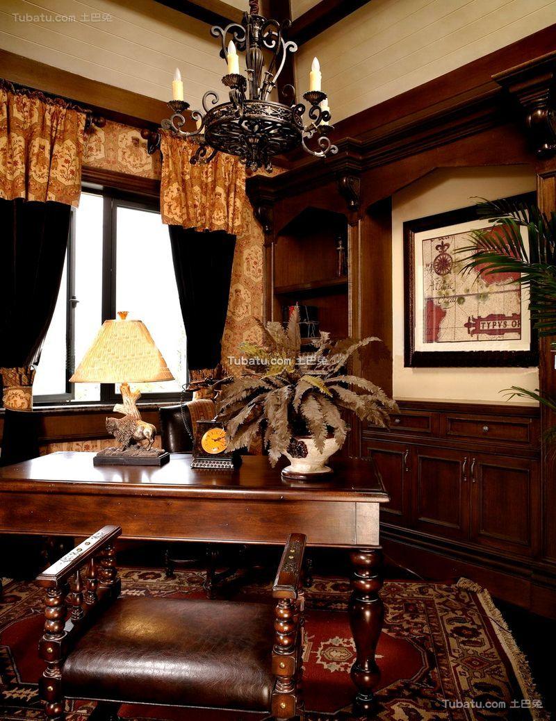 欧式复古风格别墅书房装修图片