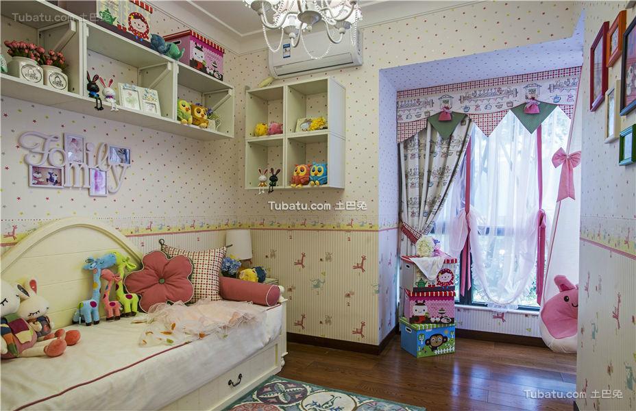 粉色美式田园儿童房