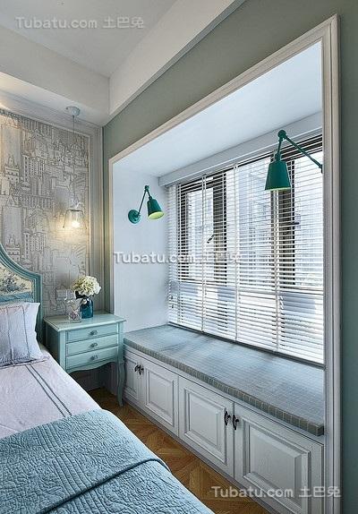 时尚蓝色美式飘窗设计