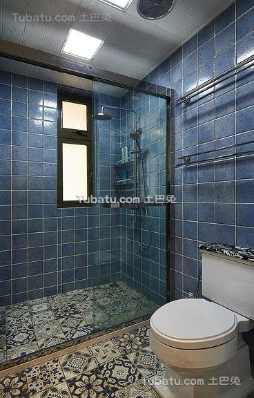 时尚复古蓝色美式卫生间