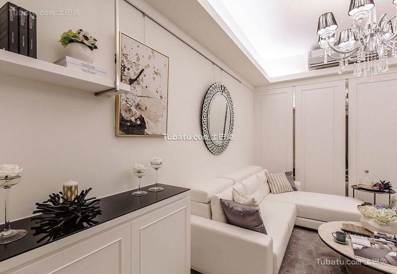 白色浪漫简约低奢客厅