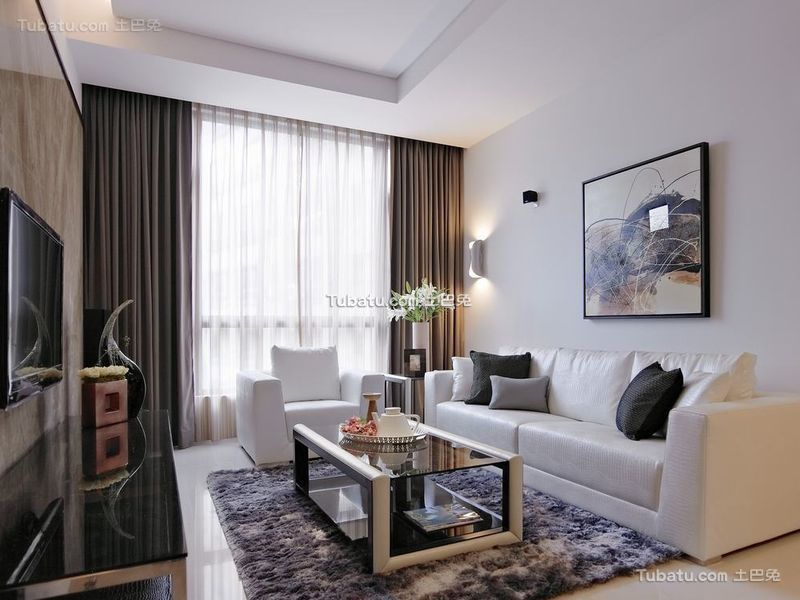优雅净白现代客厅装修