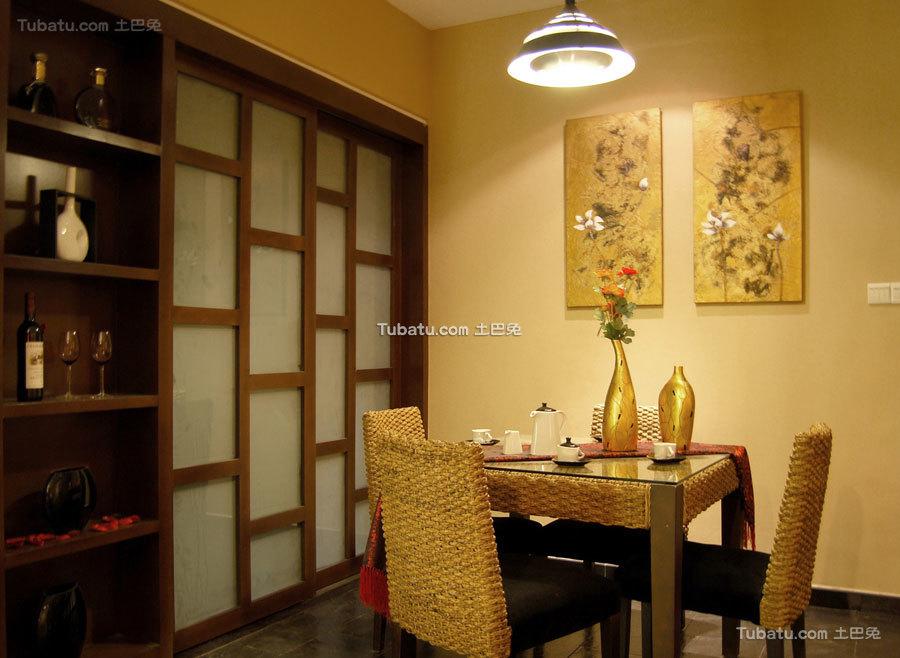 经典的东南亚风格二居室效果图