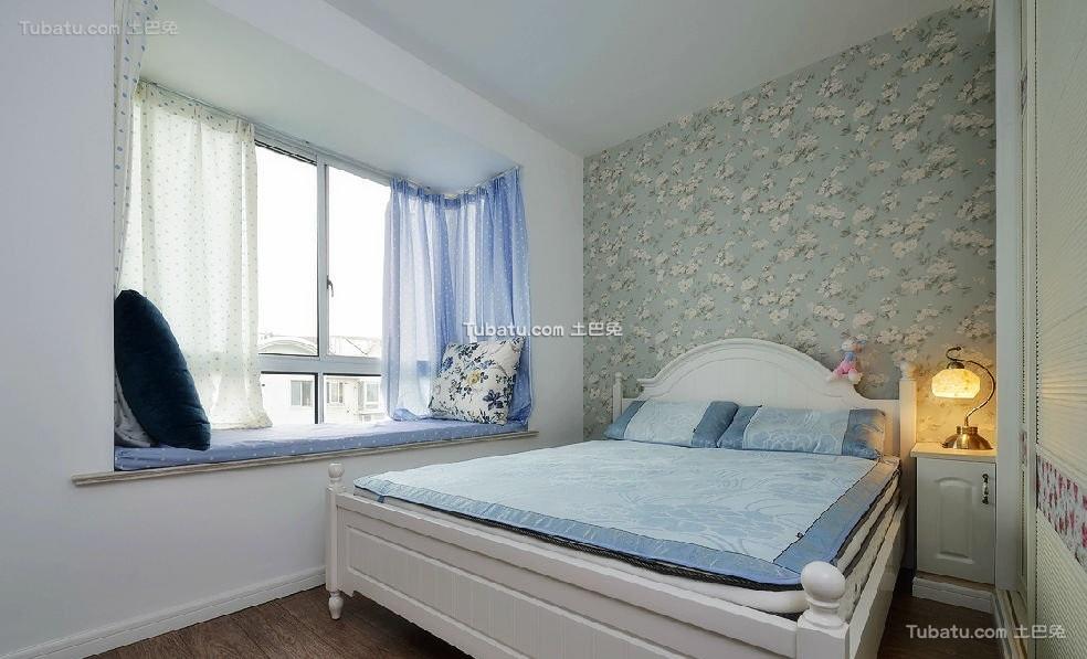 蓝色清新碎花地中海卧室