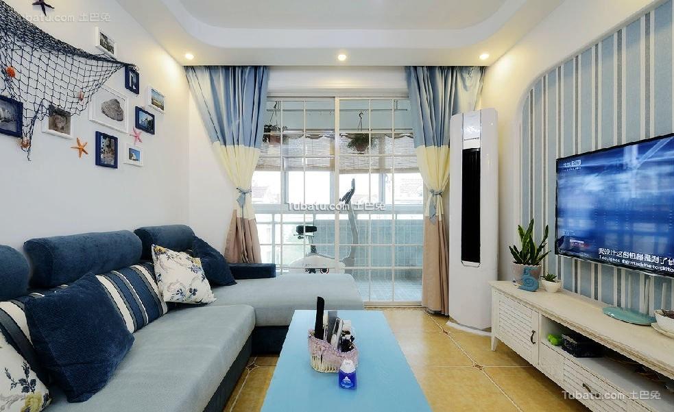 蓝色阳光地中海客厅设计