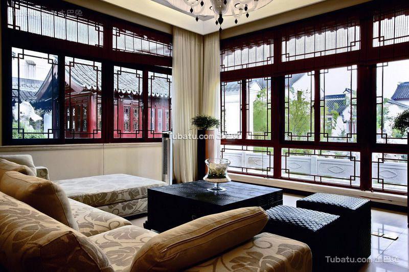 宫廷风中式窗户效果图