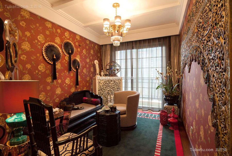 东南亚四居室休闲区效果图