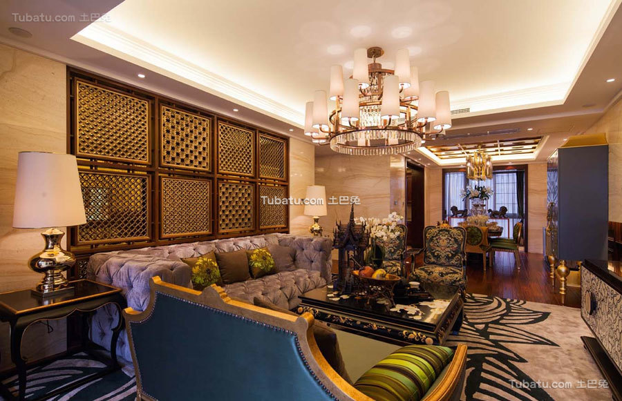 东南亚四居室客厅设计图