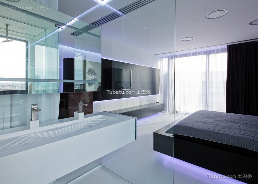 现代一居室家装隔断效果图