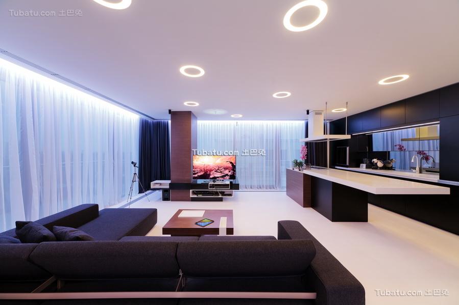 现代一居室家装客厅图