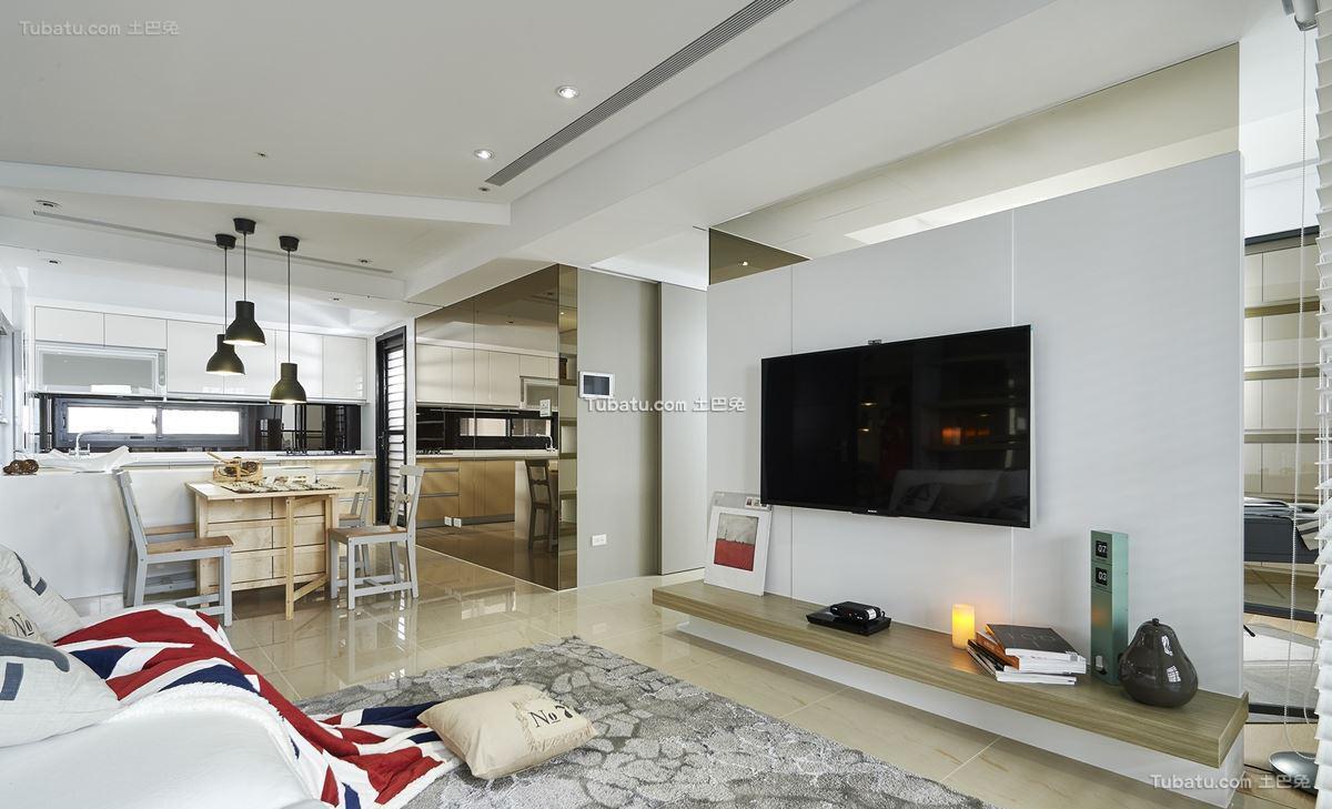 轻美式北欧风格家装电视背景墙效果图