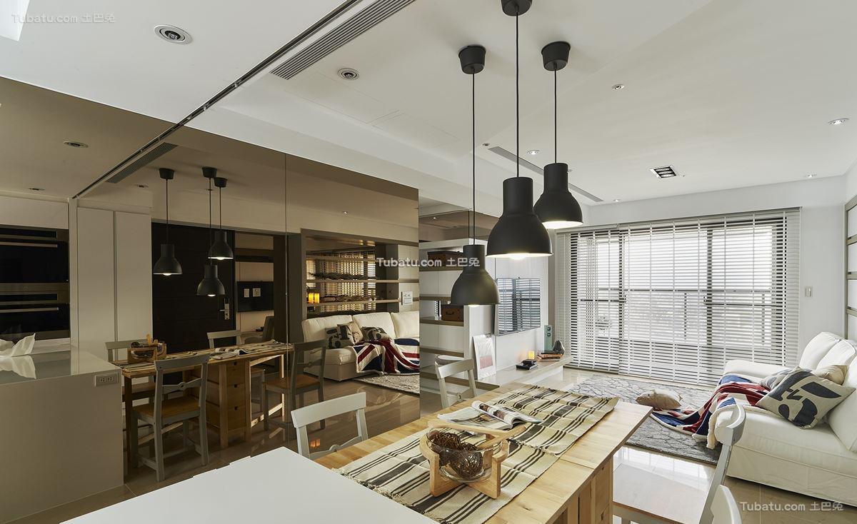 轻美式北欧风格家装客厅效果图
