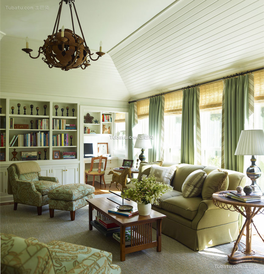 东西方结合四居室书房效果图