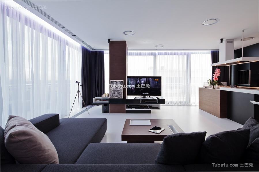 现代一居室家装效果图