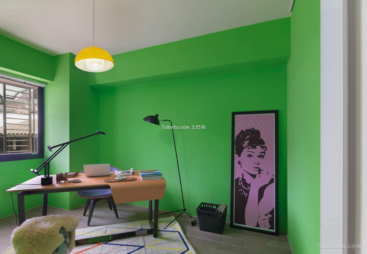 美式混搭四居室家装书房效果图