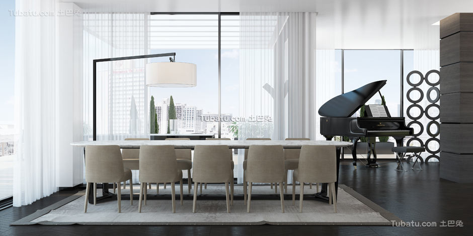 现代别墅家装餐厅效果图