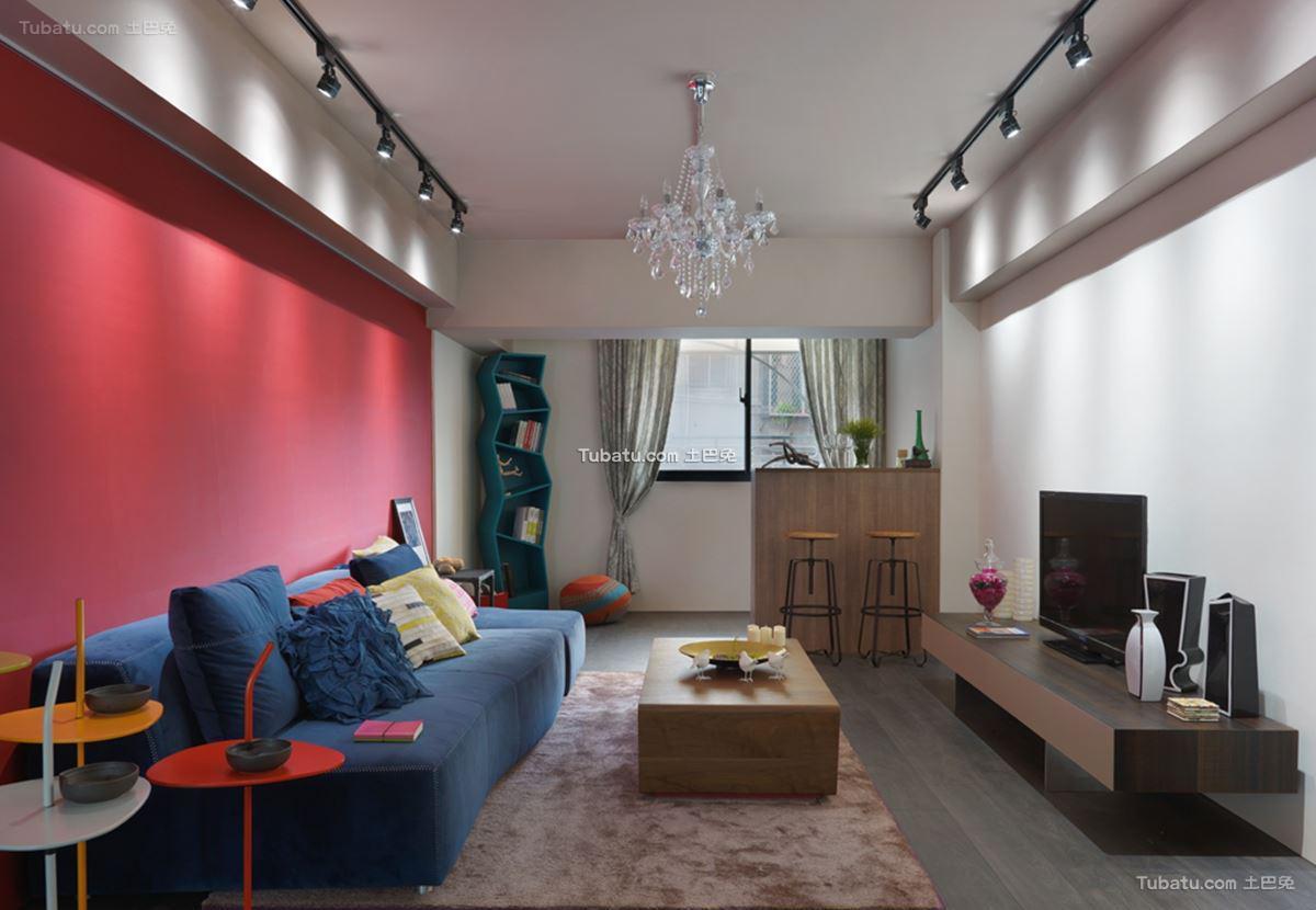 美式混搭四居室家装客厅图