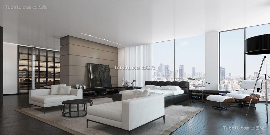 现代别墅家装客厅效果图