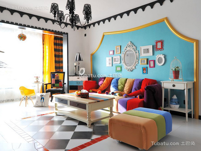 清新地中海风格家装沙发背景墙效果图