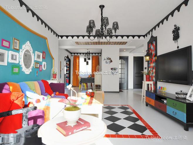 清新地中海风格家装客厅效果图