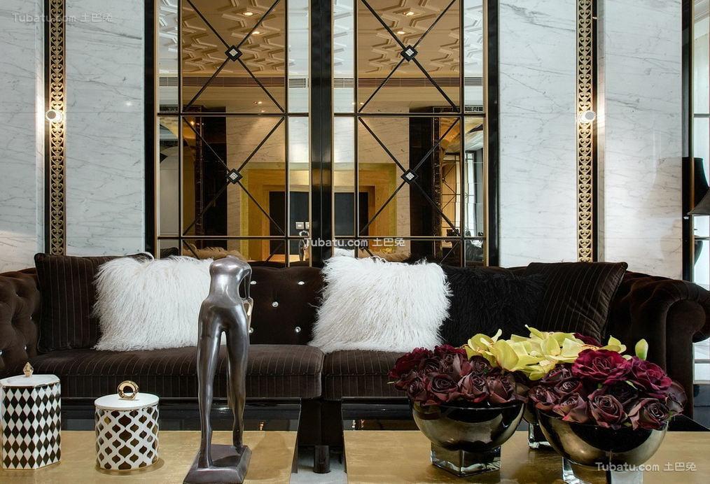 富丽堂皇的欧式家装沙发背景墙效果图