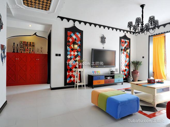 清新地中海风格家装电视背景墙效果图