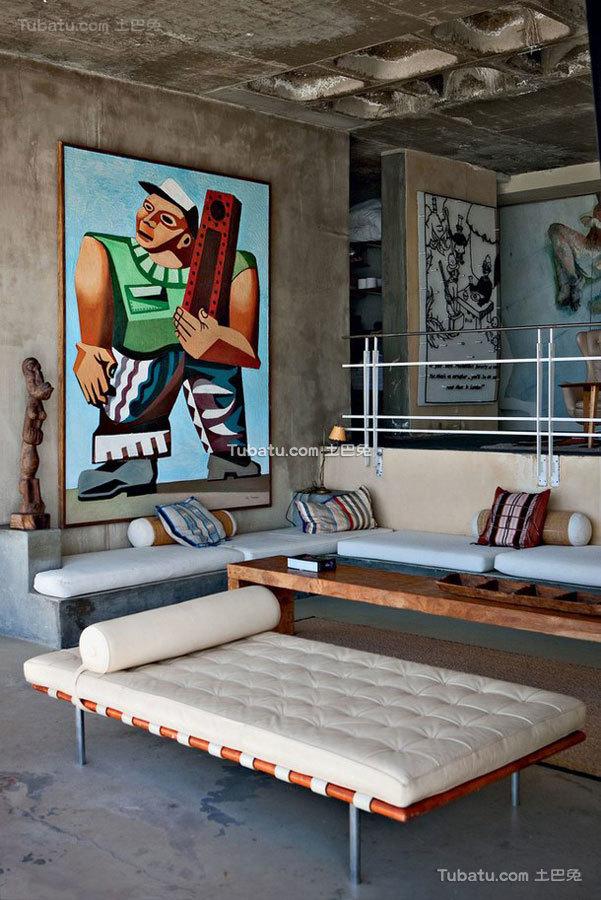 古朴质感的美式风格家装客厅设计图