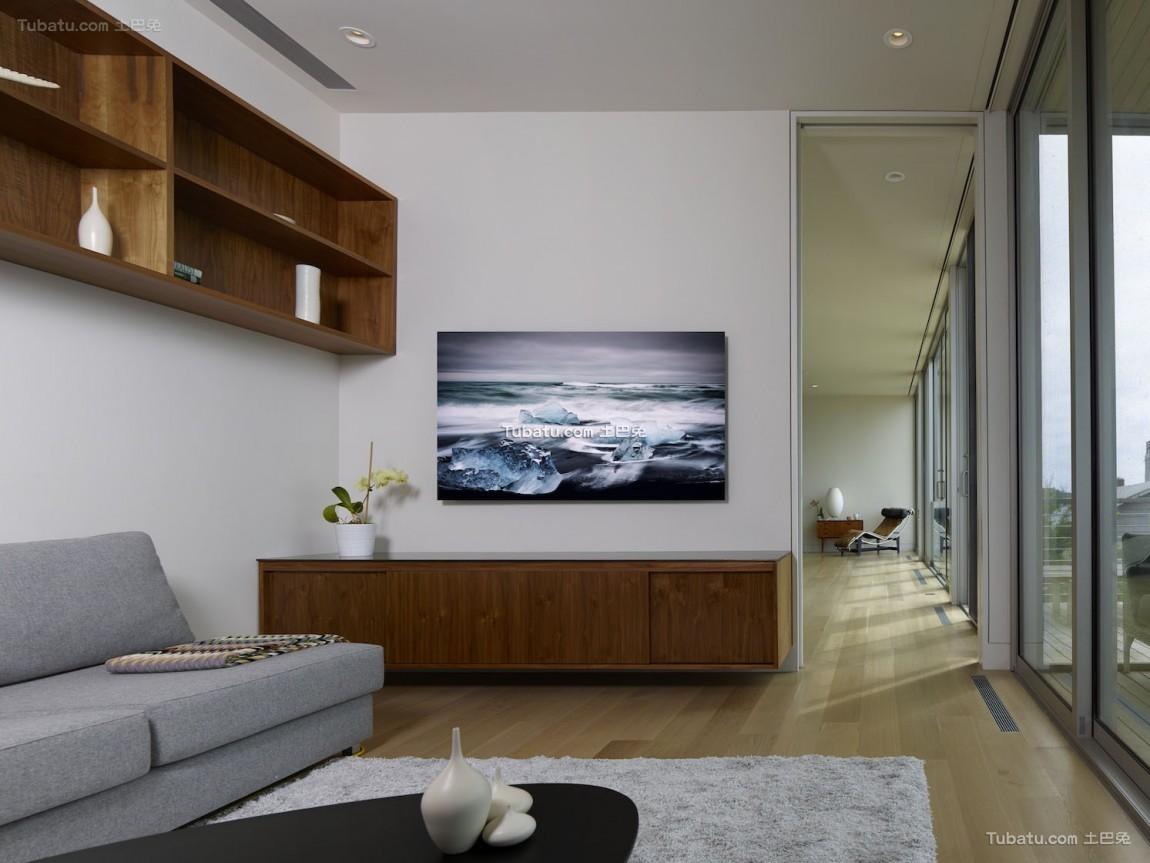 现代清晖复式楼背景墙家装效果图