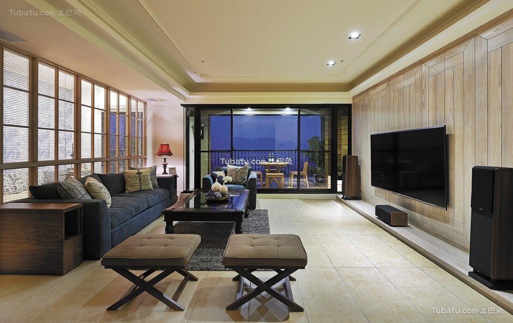 精致奢华乡村田园风格家装客厅设计效果图