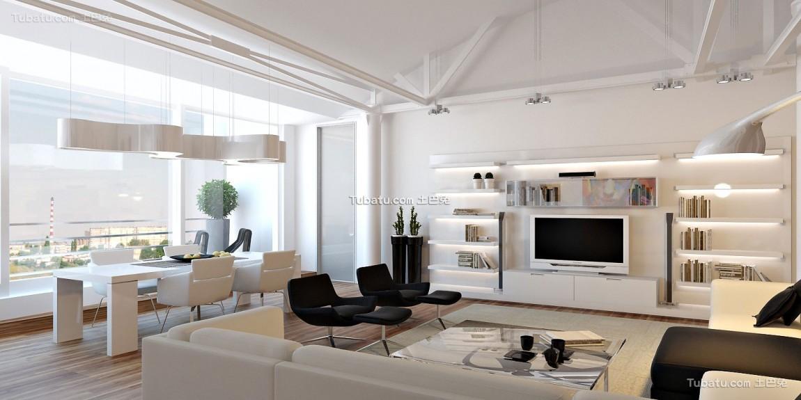 轻美式家装电视背景墙效果图