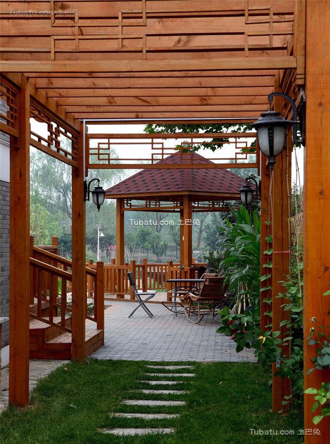 简静东方中式风格家装花园效果图