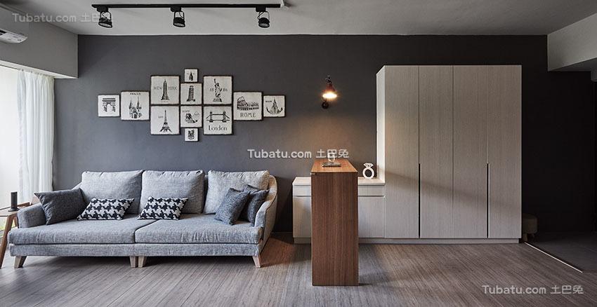 明亮现代小户型沙发背景墙效果图
