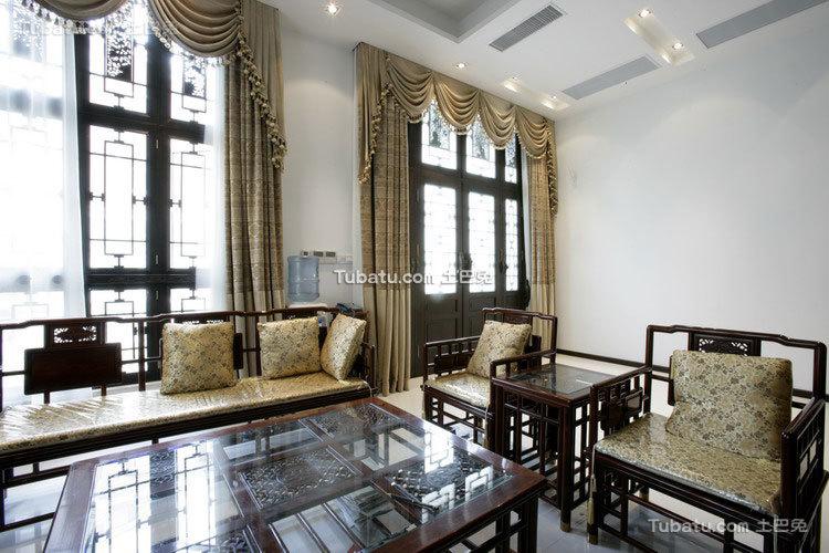 中式传统别墅客厅设计效果图
