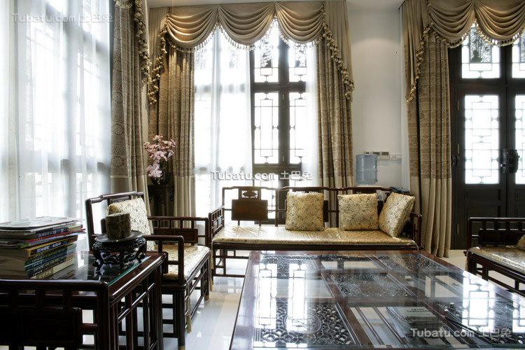 中式传统别墅客厅图