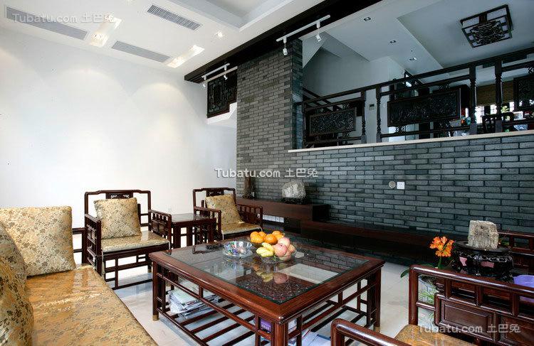 中式传统别墅背景墙效果图