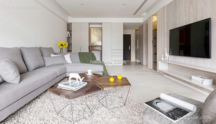 简单清新日式风格家装客厅设计效果图