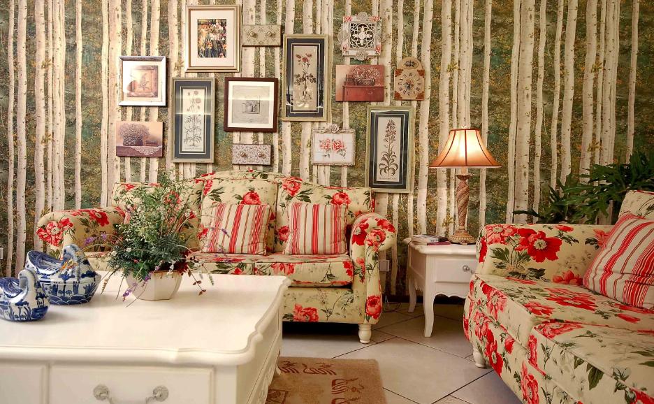 女生梦幻田园风格家装沙发背景墙效果图