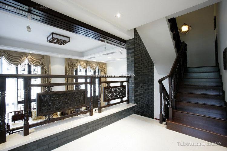 中式传统别墅楼梯效果图
