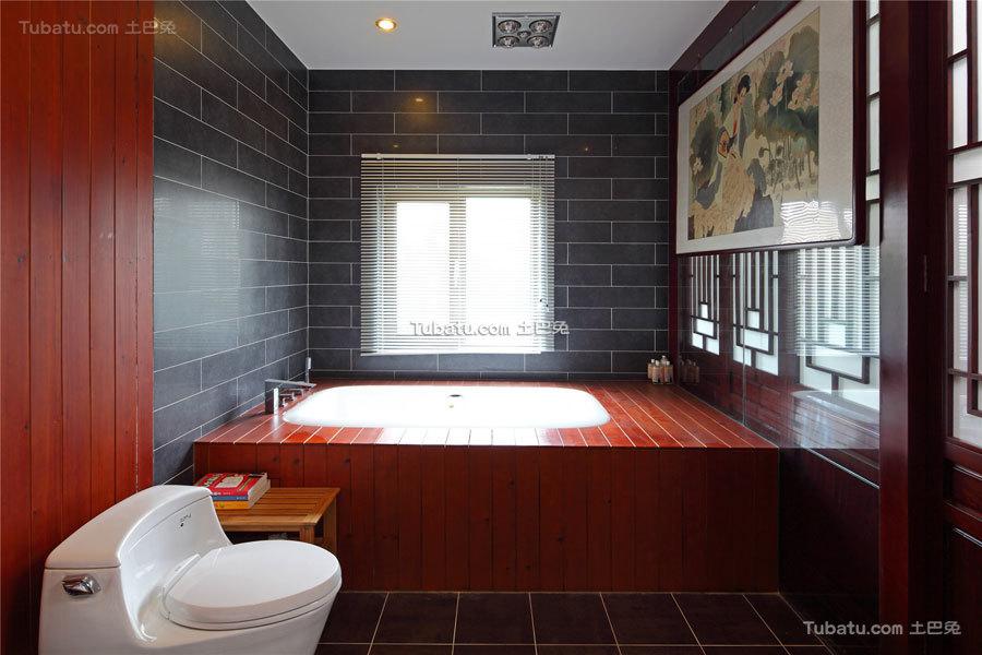 简静东方中式风格家装卫生间效果图片