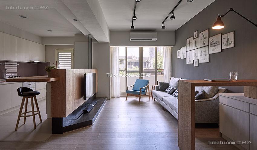 明亮现代小户型客厅效果图