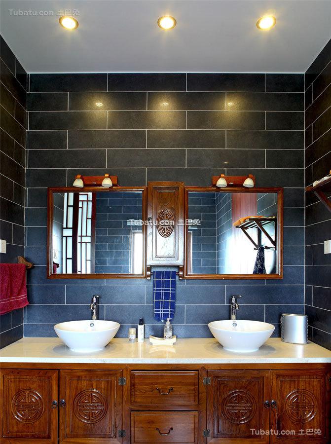 简静东方中式风格家装卫生间效果图