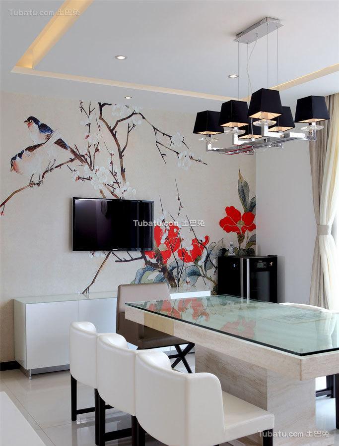 简静东方中式风格家装背景墙效果图