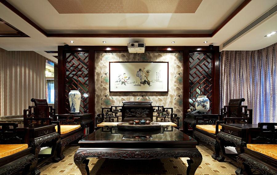 中式混搭住宅沙发背景墙效果图