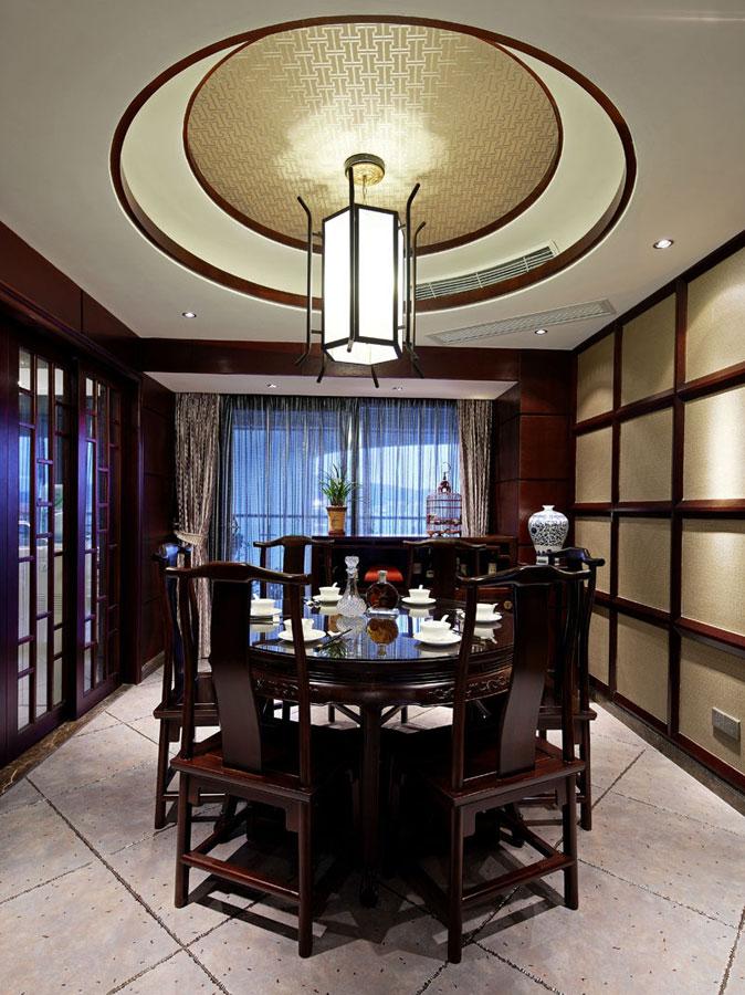 中式混搭住宅餐厅效果图