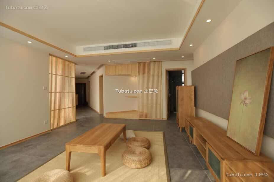 原木日式风格家装客厅设计效果图